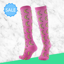 Load image into Gallery viewer, TheraSocks Knee High - Pink Banana - TheraWear