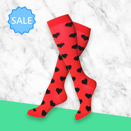 TheraSocks Knee High - Ruby Red Hearts - TheraWear
