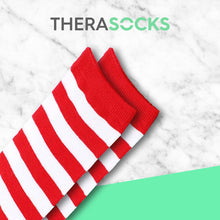 Load image into Gallery viewer, TheraSocks Knee High - Cherry Red Stripes - TheraWear
