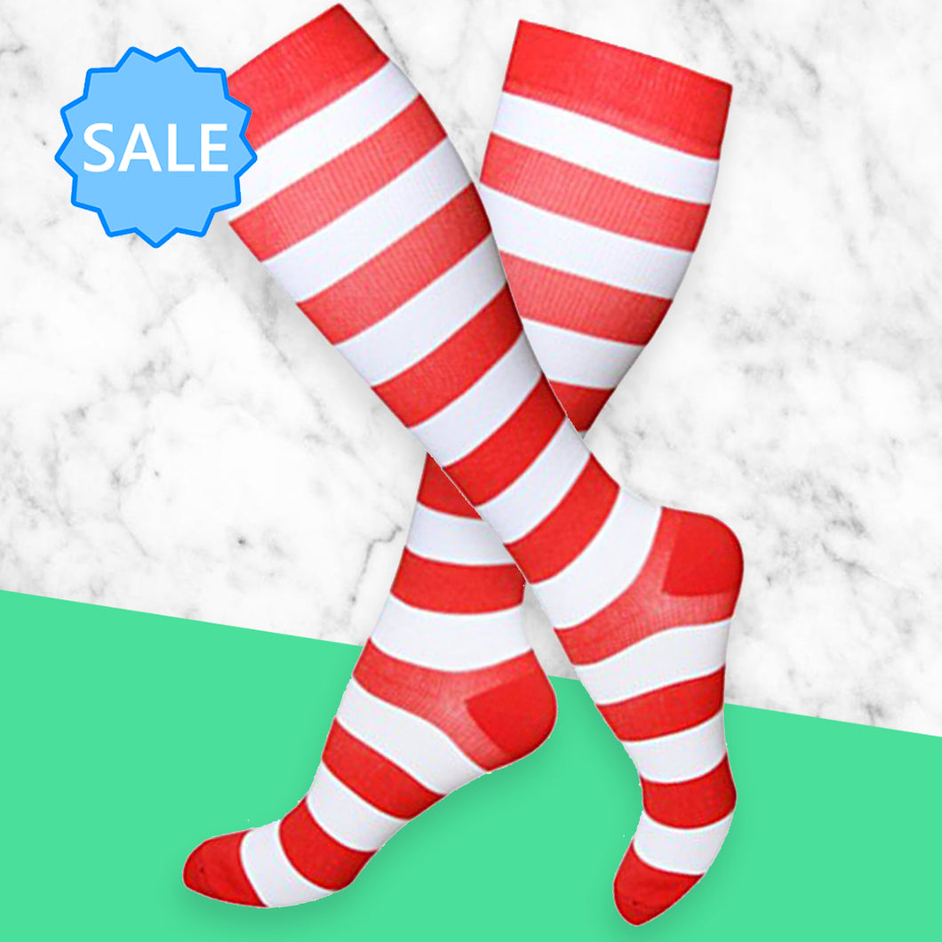 TheraSocks Knee High - Cherry Red Stripes - TheraWear
