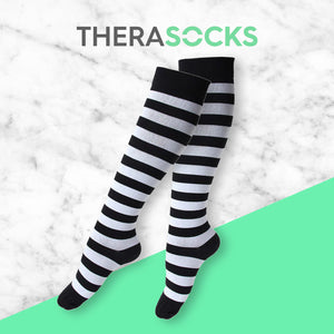 TheraSocks Knee High - Black & White Striped - TheraWear