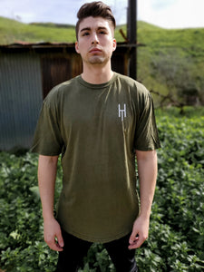 Vintage Olive Scoop Bottom T-Shirt