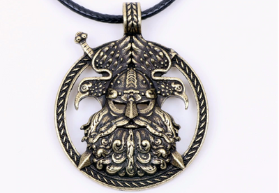 "Pendentif viking ""0din Of Raven bronze"