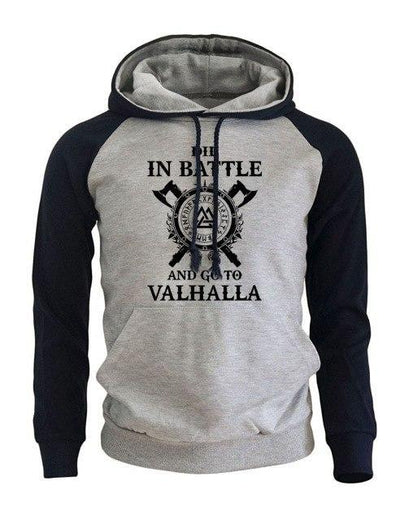 sweat capuche viking blanc et noir