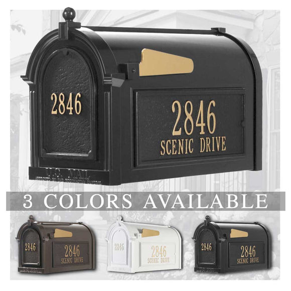 Personalized Whitehall Delux Capital Mailbox with Door Side Plaquesm