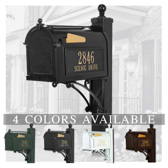Personalized Whitehall Deluxe Capitol Mailbox with Side Address Plaques, Monogram & Post Package
