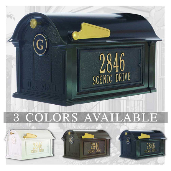 Personalized Whitehall Balmoral Mailbox with Side Address Plaques & Monogram