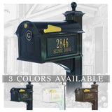 Personalized Whitehall Balmoral Mailbox with Side Address Plaques, Monogram & Post Package