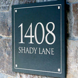 Stone Address Plaque with Engraved Numbers. Address Sign Made from Solid, Real Stone.