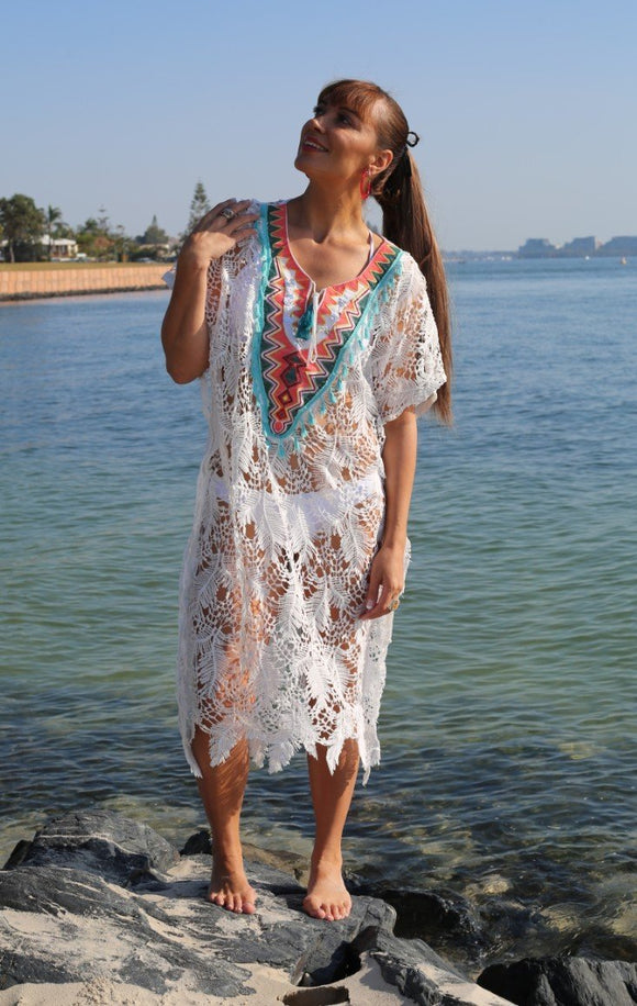 White lace kaftan with stunning neck embroidery