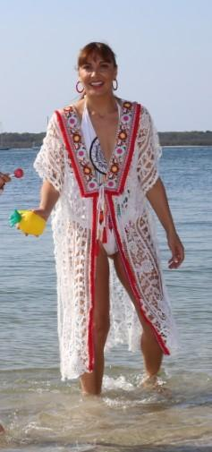 White lace beach kaftan with embroidery trim