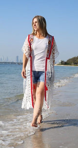 Ladies white lace beach cover up