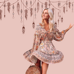 Load image into Gallery viewer, Bohemian Vintage Chic Floral Dress