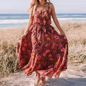 Red Daisy Beach Boho Dress