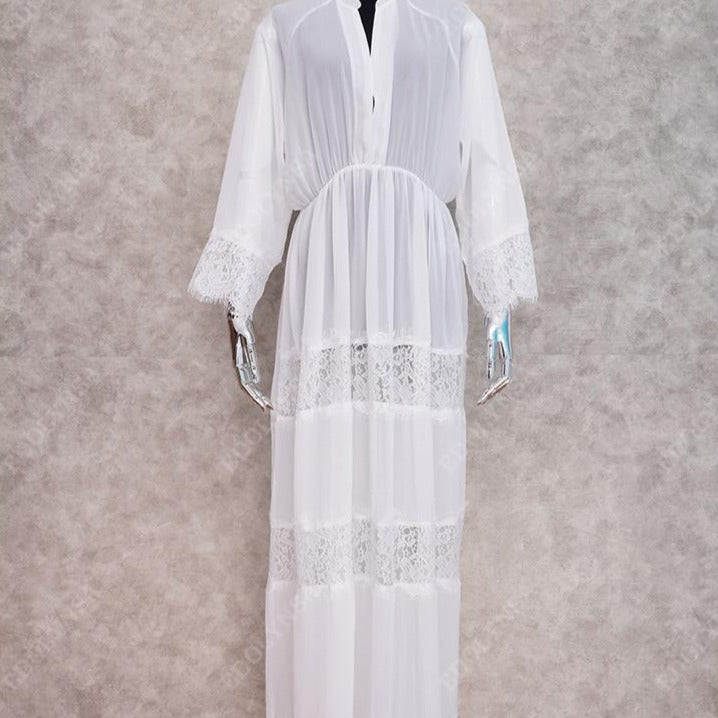 White Boho Beach Dress Cover Up