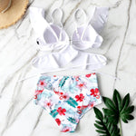 Load image into Gallery viewer, Boho Summer White Ruffled Bikini
