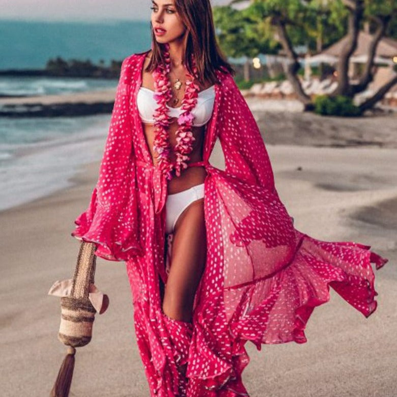 Pink Beach Boho Wrap Dress