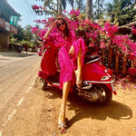 Load image into Gallery viewer, Pink Beach Boho Wrap Dress