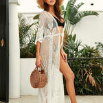 Load image into Gallery viewer, White Lace Boho Beach Kimono