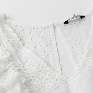 White Lace Embroidery Boho Dress