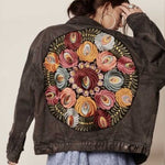 Load image into Gallery viewer, Multi Floral Boho Denim Jacket