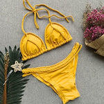 Load image into Gallery viewer, Yellow Triangle Floral Boho Print Bikini