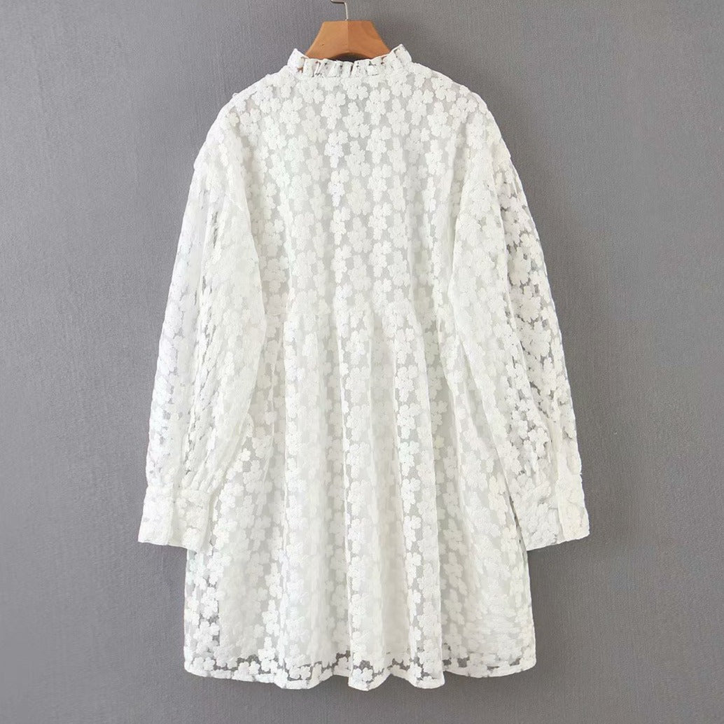 White Embroidery Summer Boho Dress