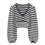 Load image into Gallery viewer, Boho Patchwork Crop Top Sweater