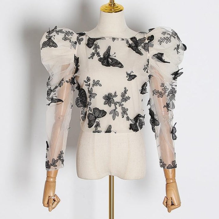 Butterfly Puff Sleeve Top