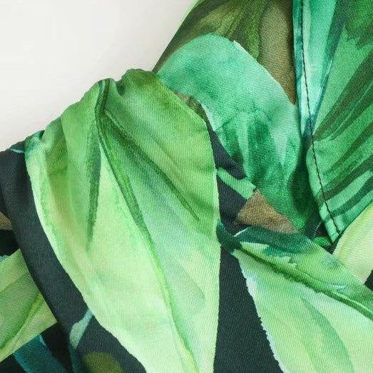 Tropical Green Leaves Boho Jumpsuit
