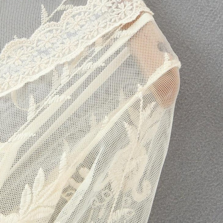 White Embroidery Lace Dress