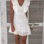 Load image into Gallery viewer, White Lace Embroidery Boho Dress