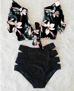 Load image into Gallery viewer, Boho Floral Black Bikini