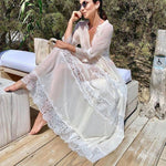 Load image into Gallery viewer, White Boho Beach Dress Cover Up