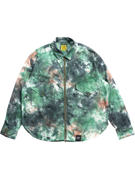 TIE DYE BLEED CAMO ZIP UP SHIRT