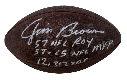 Jim Brown 1957 ROY 1958-65 MVP Signed Heavily Inscribed STAT Football PSA DNA