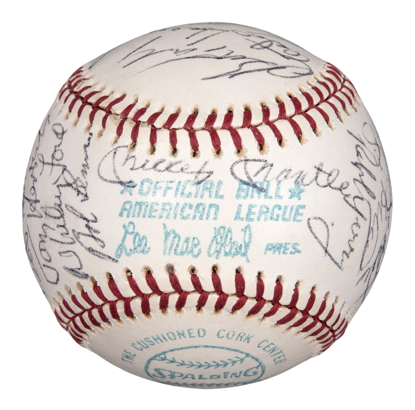 Mickey Mantle Joe Dimaggio Elston Howard Yankees Legends Signed Baseball PSA DNA