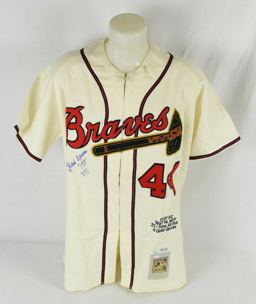 Hank Aaron 755 Home Runs 3771 Hits Signed Authentic Braves Jersey Steiner COA