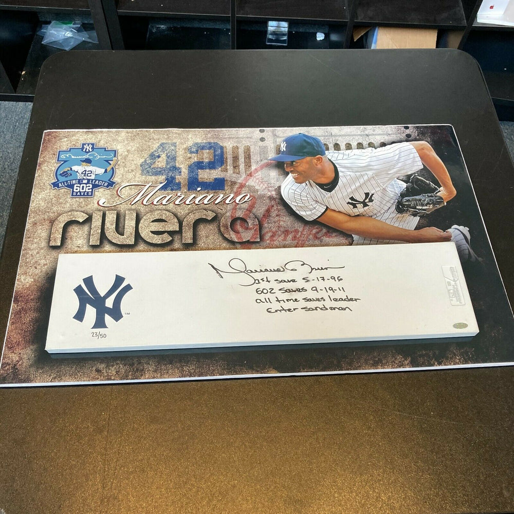 Beautiful Mariano Rivera Signed Heavily Inscribed Pitching Rubber Steiner COA