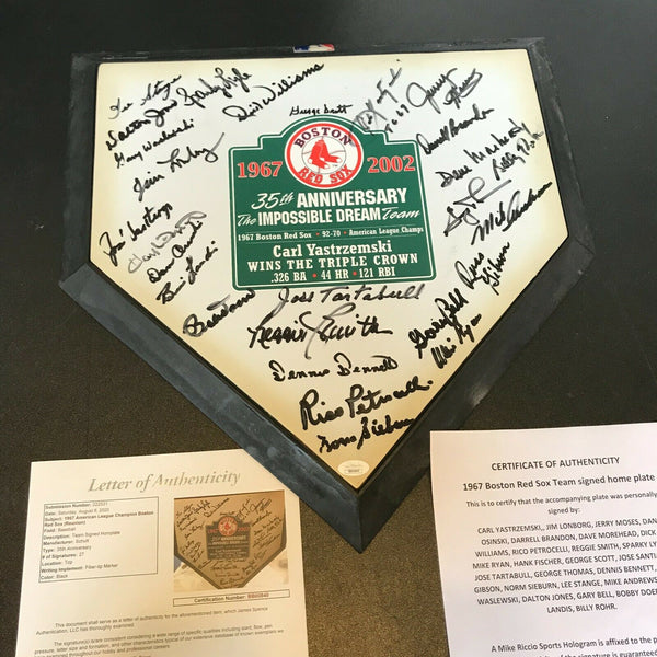 1967 Boston Red Sox AL Champs Team Signed Home Plate Carl Yastrzemski JSA COA