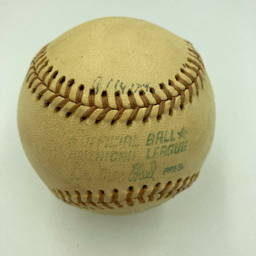 Hank Aaron HR Chase Milwaukee County Stadium Game Used Baseball From 8-14-1974