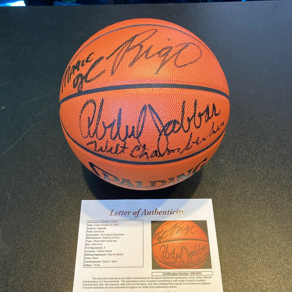 Wilt Chamberlain Kareem Abdul Jabbar Dr. J Magic Johnson Signed Basketball JSA