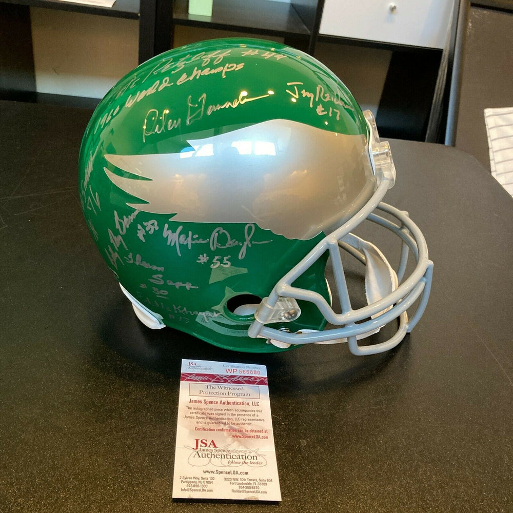 1960 Philadelphia Eagles Super Bowl Champs Team Signed Full Size Helmet JSA COA