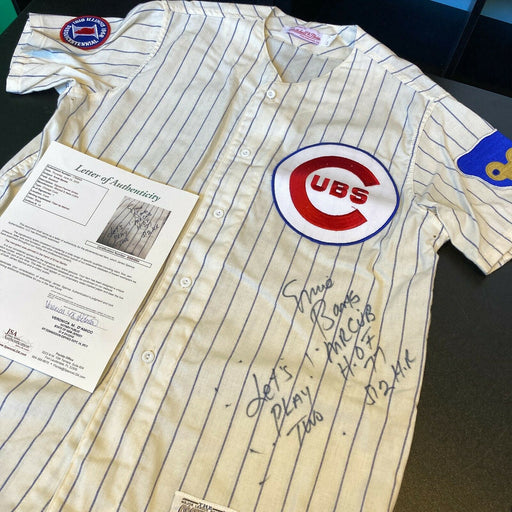 "Stunning Ernie Banks ""Let's Play Two"" Signed Inscribed Chicago Cubs Jersey JSA"