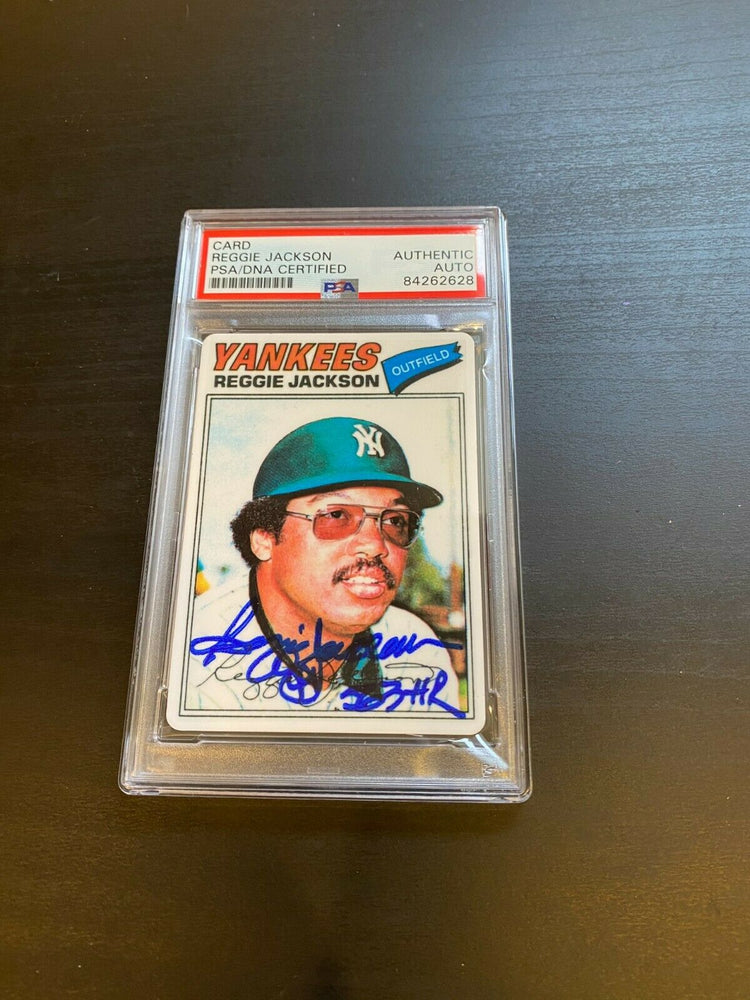"1977 Topps Reggie Jackson Signed Porcelain Baseball Card PSA DNA ""563 HR"""