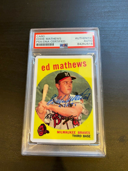 "1959 Topps Eddie Mathews RC Signed Porcelain Baseball Card PSA DNA ""512 HR's"""