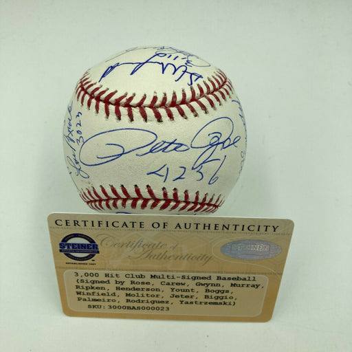Beautiful Derek Jeter 3,000 Hit Club Signed Inscribed Baseball 16 Sigs Steiner