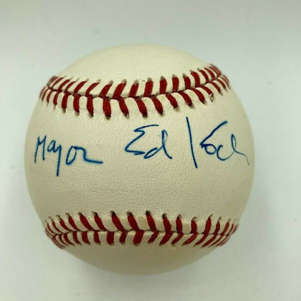 New York City Mayor Ed Koch Signed Autographed MLB Baseball JSA COA Dec 2013