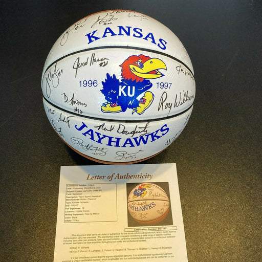 1996-97 Kansas Jayhawks NCAA Champions Team Signed Basketball With JSA COA