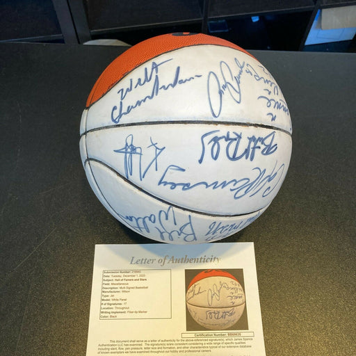 Wilt Chamberlain John Havlicek Hall Of Fame Multi Signed Basketball JSA COA